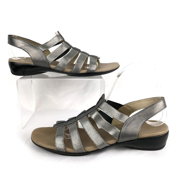 "Munro   ""Darian"" Strappy Silver T-Strap Sandals"